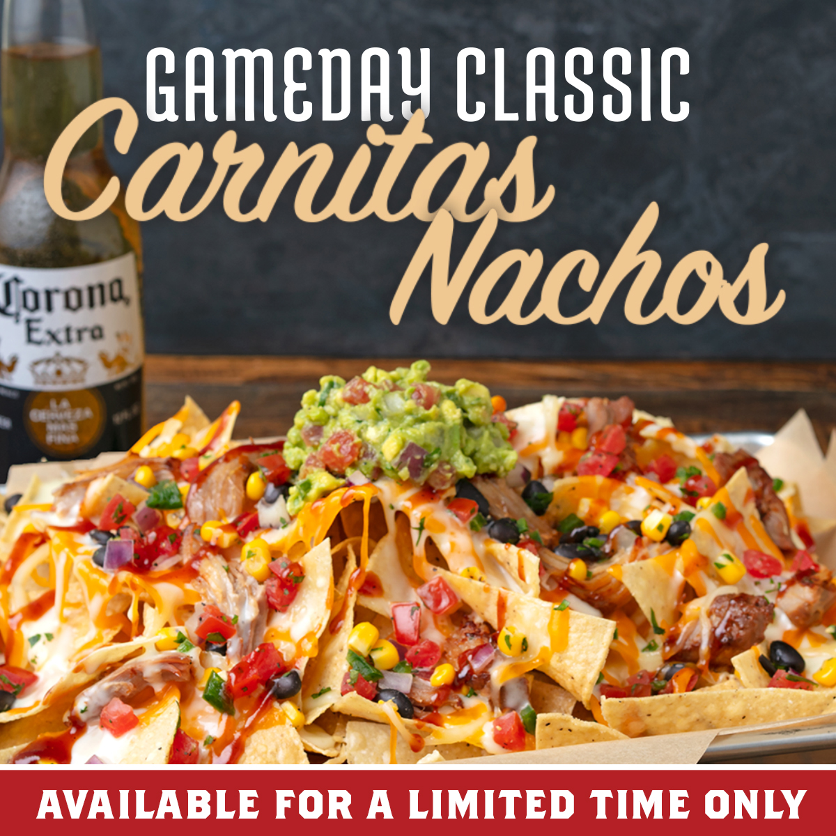 Try our New Carnitas Nachos for only $13